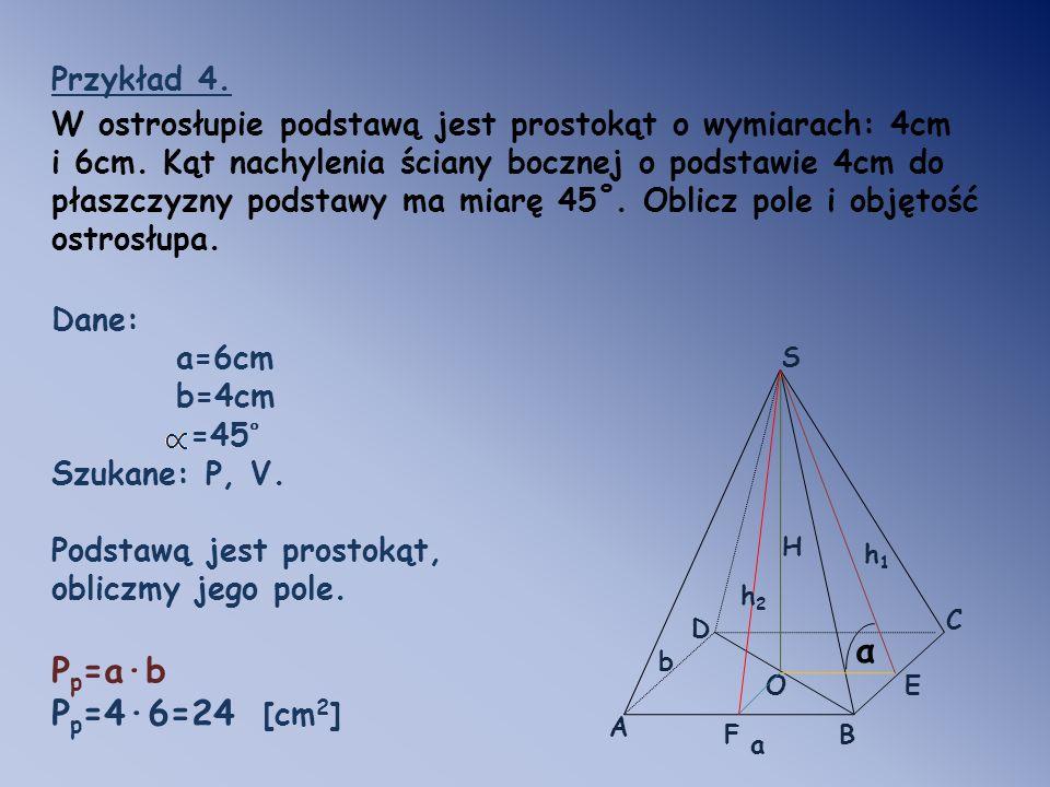 Pp=a·b Pp=4·6=24 [cm2] α Przykład 4.